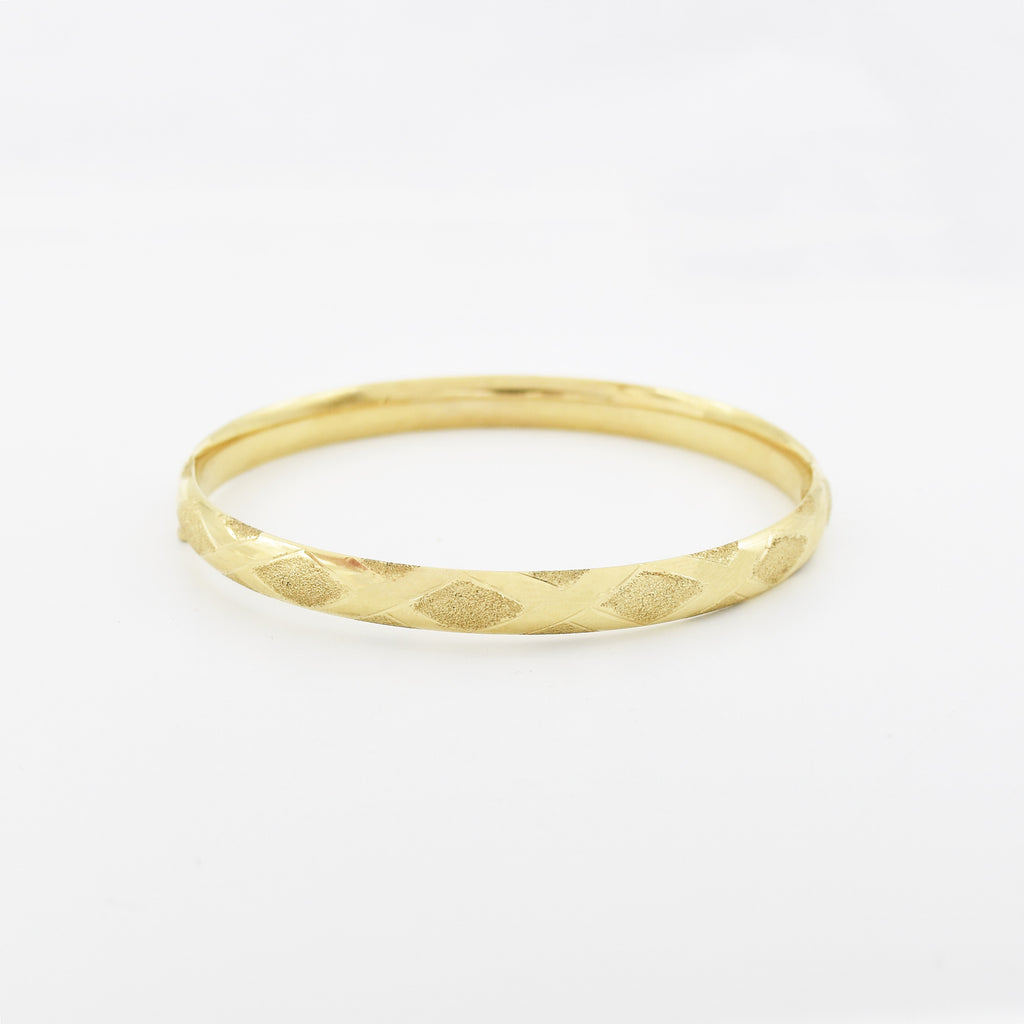 14k Yellow Gold Estate Textured X Design Hinged Bangle Bracelet