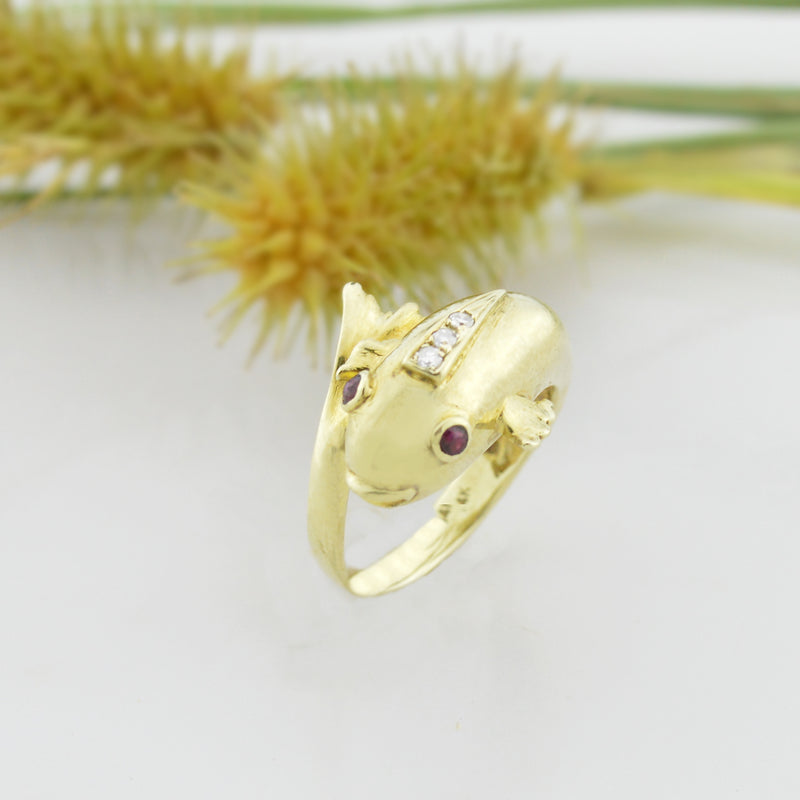 14k Yellow Gold Estate Diamond & Ruby Koi Fish Ring Animal Size 6