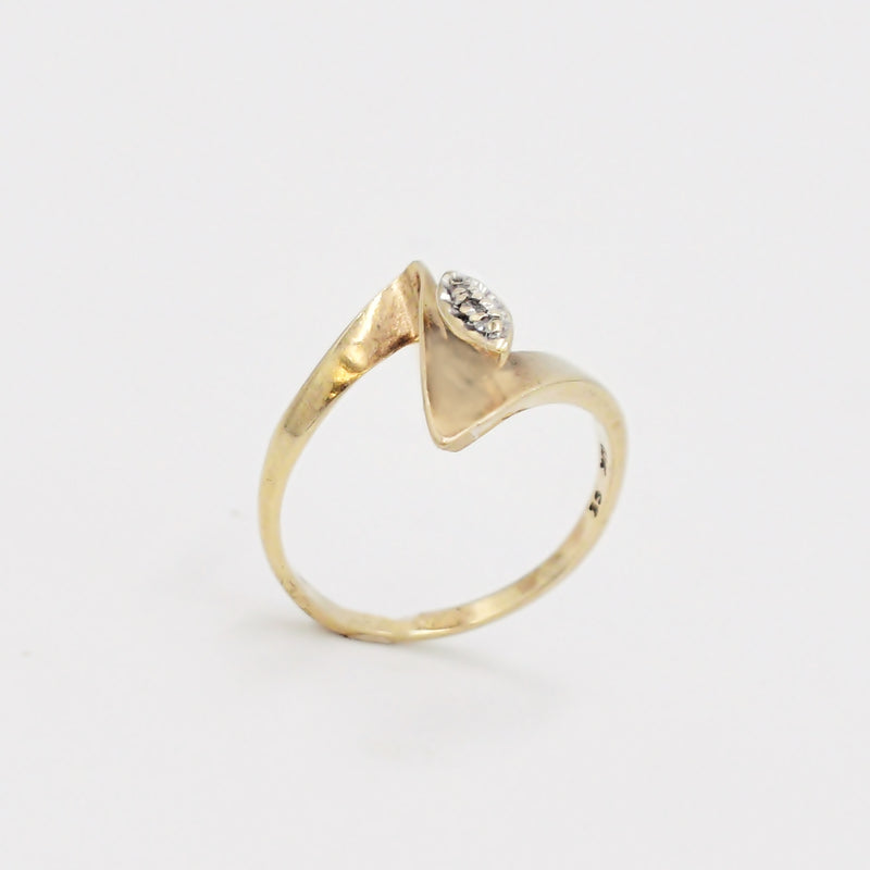 10k Yellow Gold Mid Century Modern Diamond Statement Ring Size 7.5