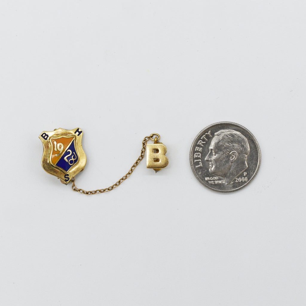 10k Yellow Gold Antique Enamel BHS 1928 Pin