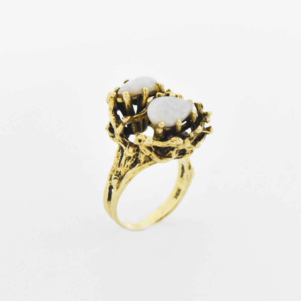 14k Yellow Gold Abstract/Brutalist Double Fire Opal Ring Size 7
