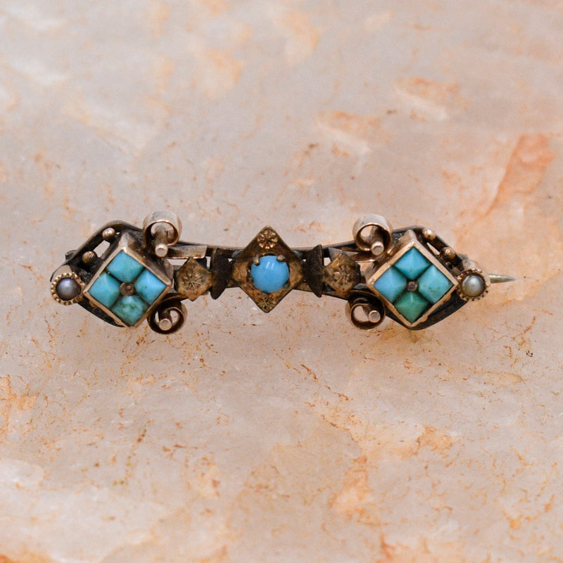 10k Yellow Gold Ornate Antique Turquoise & 1.6 mm Pearl Bar Pin