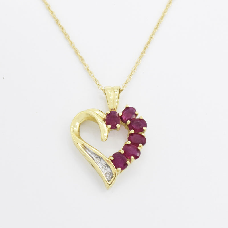 "10k Yellow Gold Estate Ruby & Diamond Open Heart 18"" Necklace"