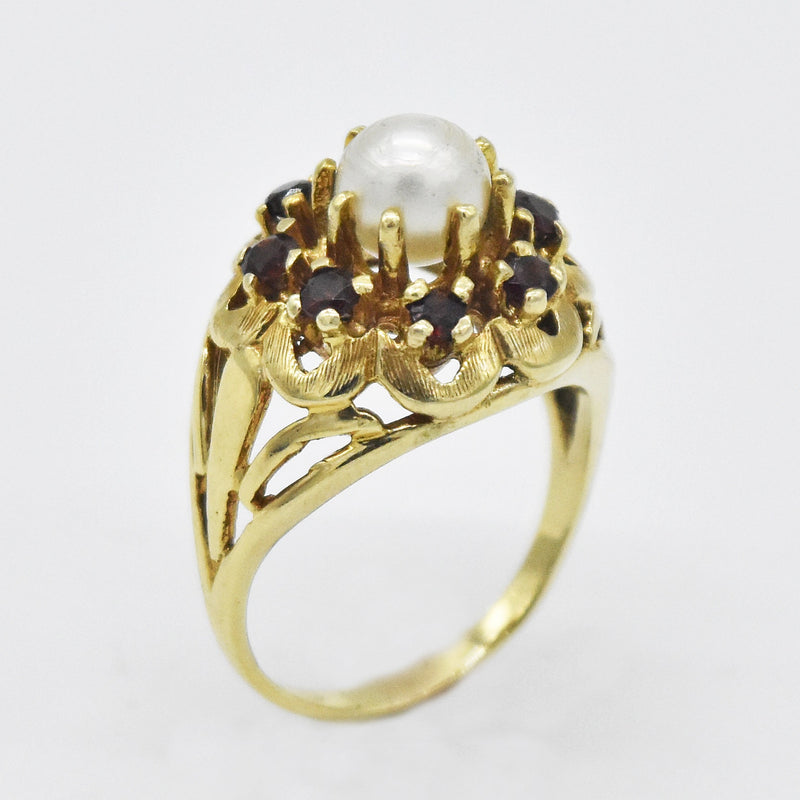 14k Yellow Gold Estate Garnet & Pearl Dome Ring Size 7