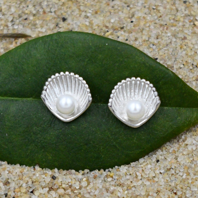 New Sterling Silver 925 Sea Shell Fresh Water Pearls Earrings