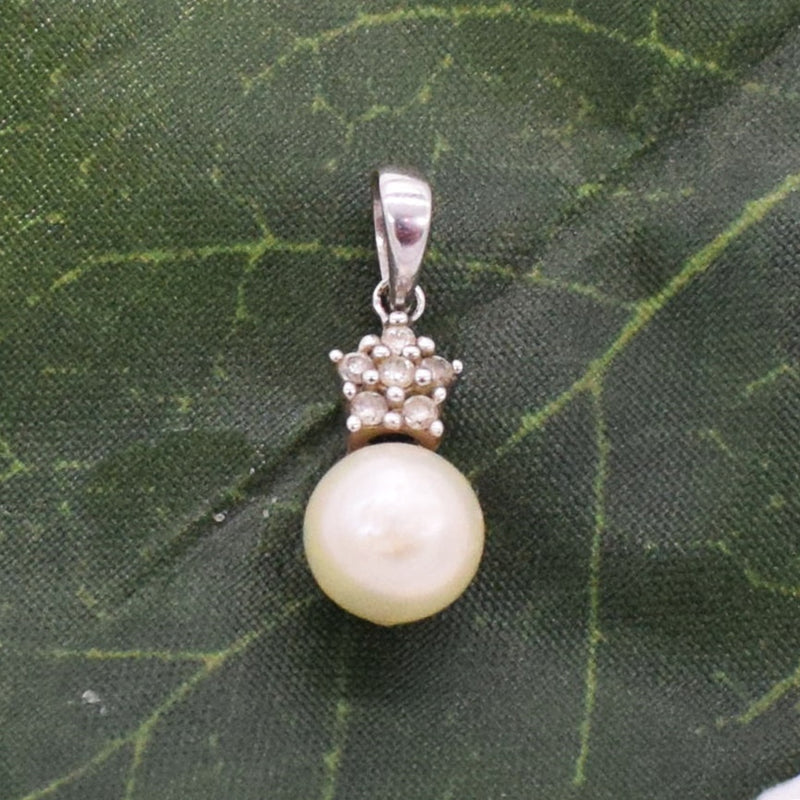 14k WG Drop/Dangle Pearl & Diamond 0.06 tcw Pendant