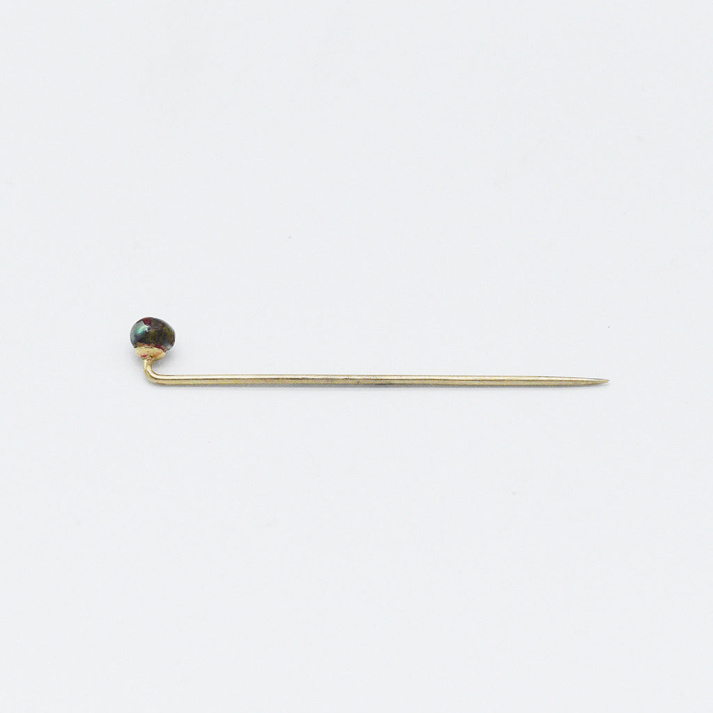 10k Yellow Gold Antique Black Pearl Stick Pin