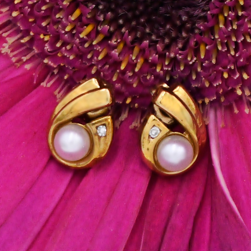 10k Yellow Gold Estate Swirl Pearl & Diamond Post Earrings
