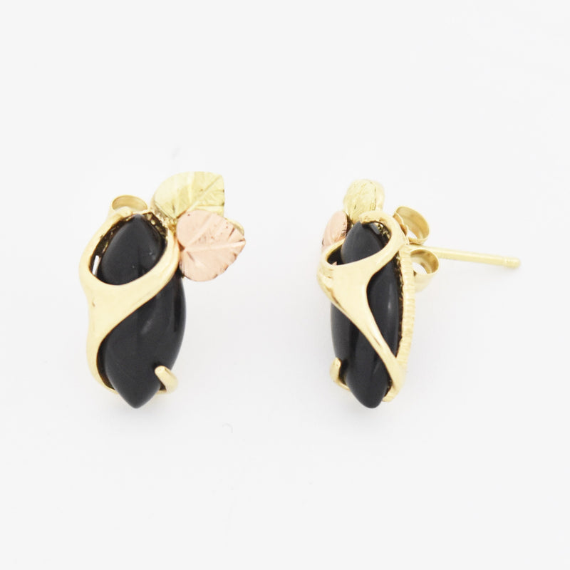 10k Tri Colored Gold Estate Black Onyx Post Earrings