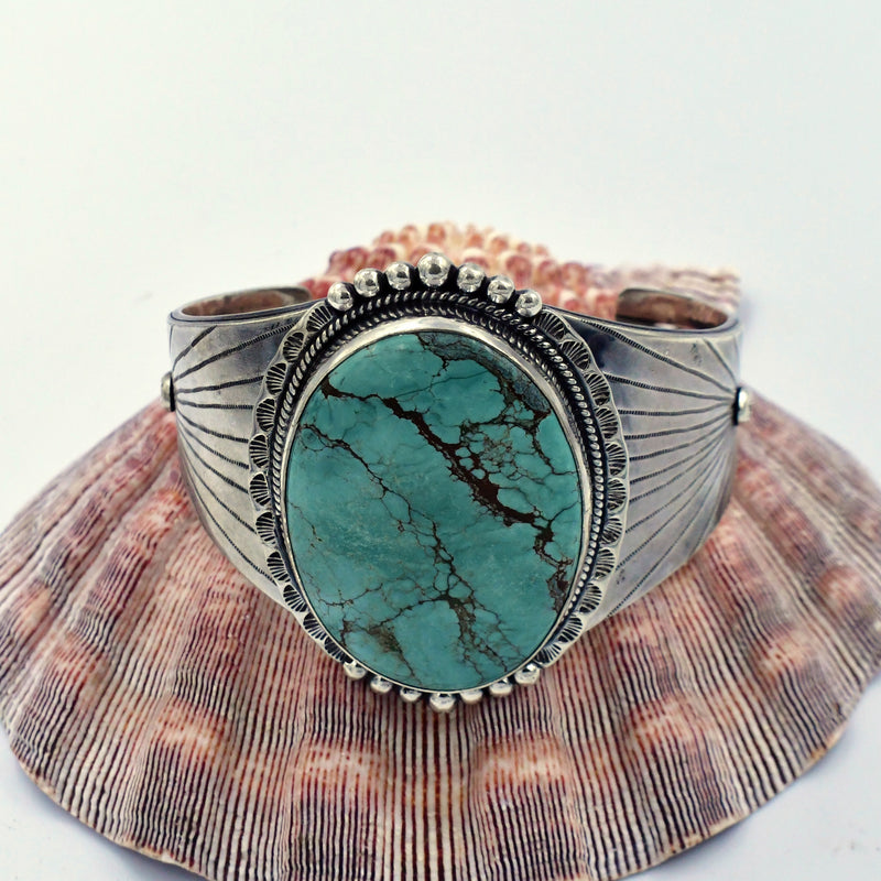 Sterling Silver 925 Ornate Large Oval Green Turquoise Cuff Bracelet