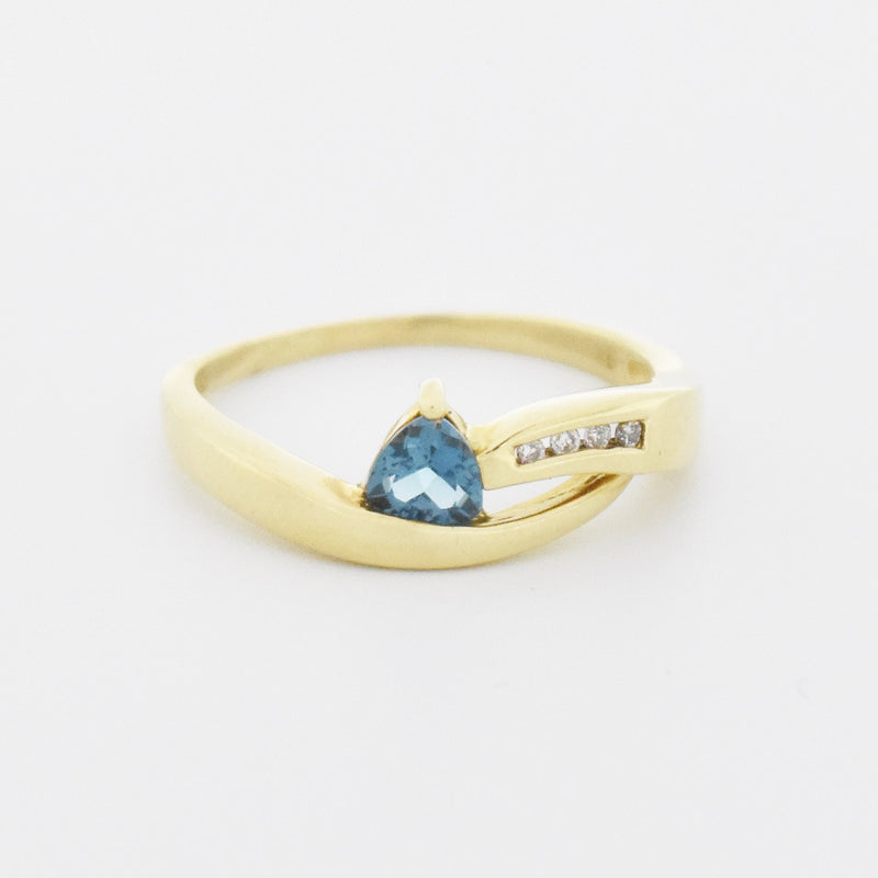 10k Yellow Gold Estate Blue Topaz & Diamond Swirl Ring Size 10.75
