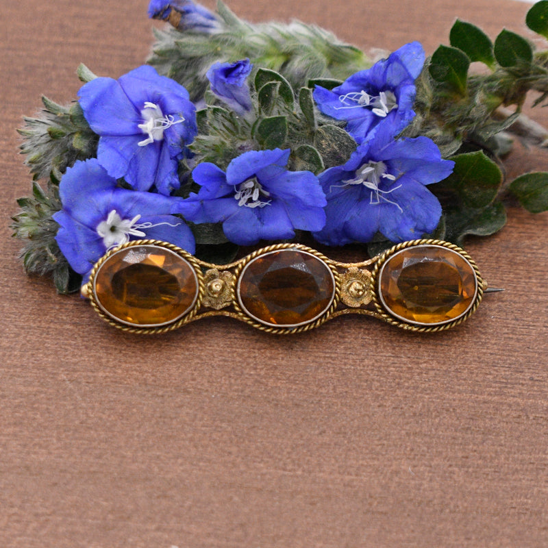 10k Yellow Gold Antique Ornate 3/Three Orange Gemstone Bar Pin/Brooch