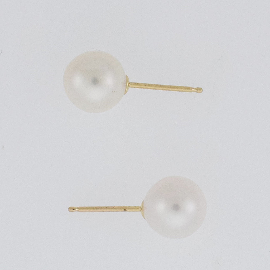 14k Yellow Gold Estate Pearl 7 mm Post Earrings