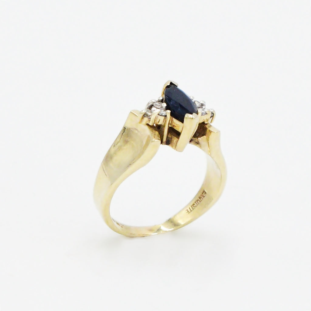 10k Yellow Gold Estate Sapphire Gemstone & Diamond Ring Size 5