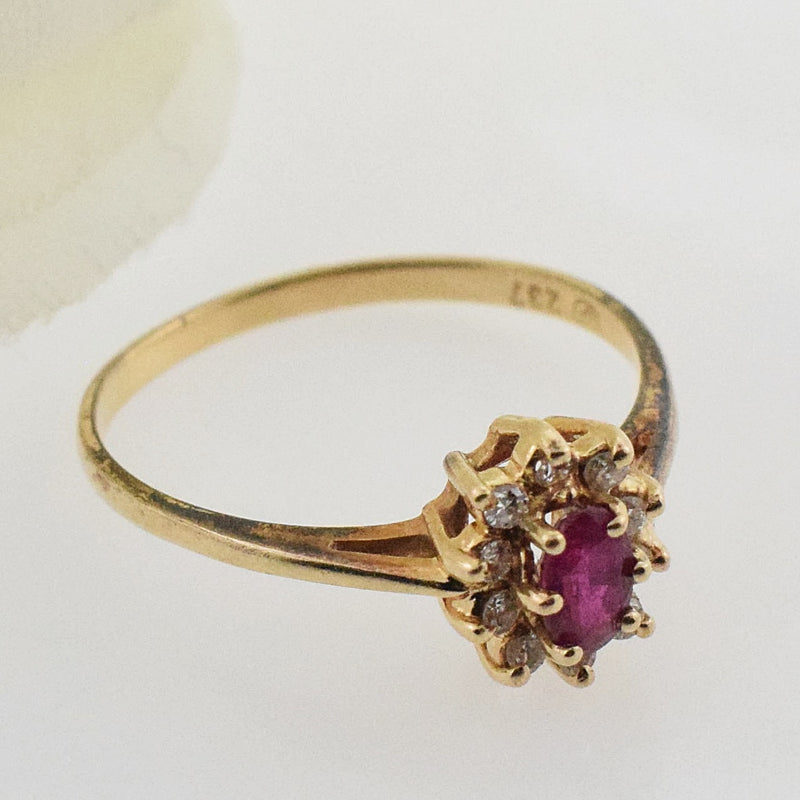 14k YG Ruby & Diamond 0.10 tcw Ring Size 6