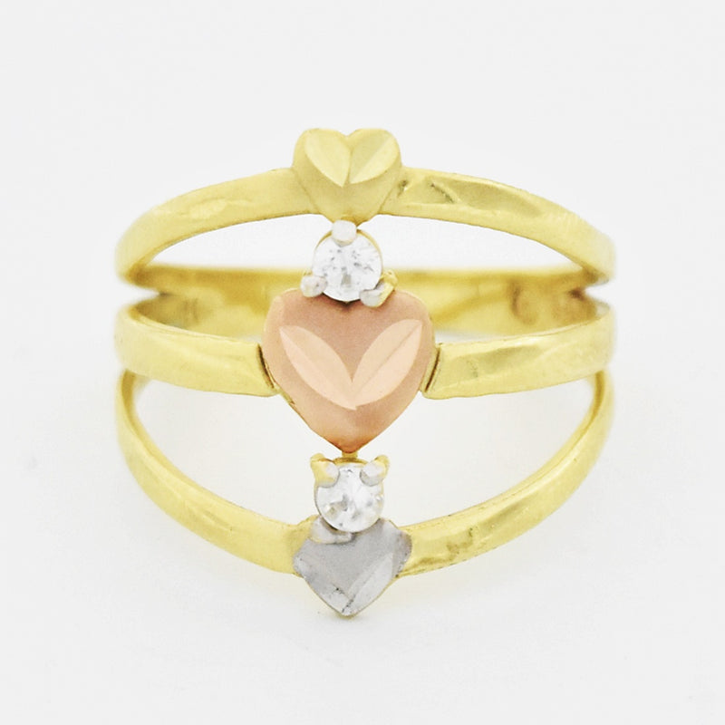 14k Tri Colored Gold Heart & White Gemstone Open Triple Band/Ring Size 7