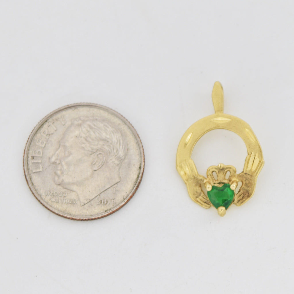 14k Yellow Gold Diamond Cut Green Gemstone Claddaugh/Celtic Pendant