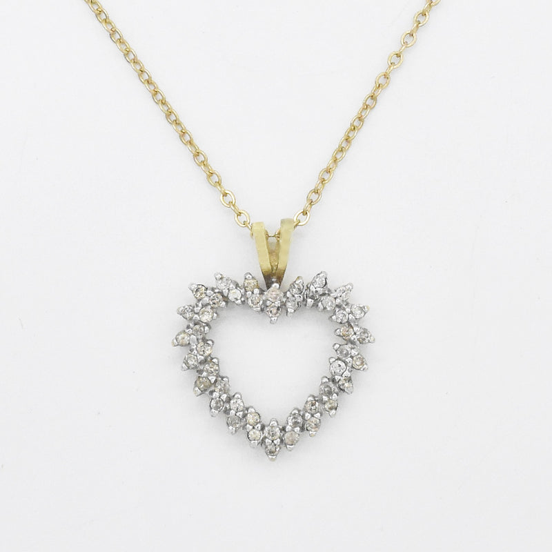 "14k Yellow Gold Estate 18.5"" Diamond Open Heart Necklace"
