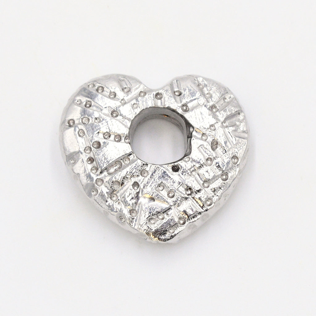 14k White Gold Estate Textured Open Heart Love Pendant