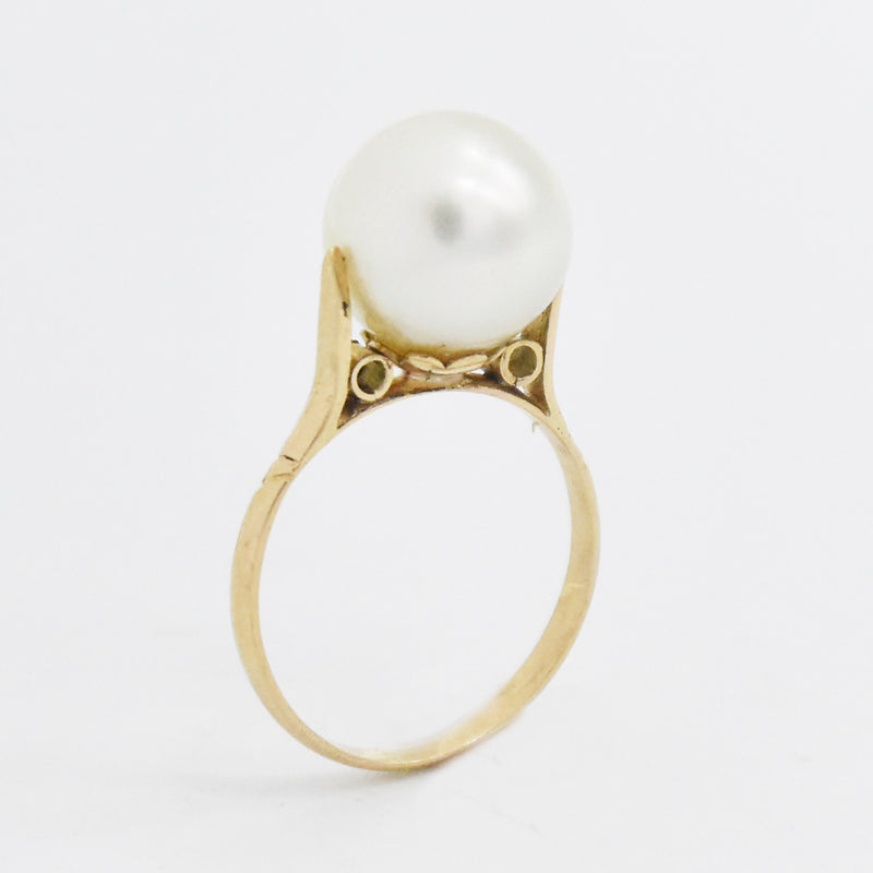 14k Yellow Gold Estate Open Work High Setting Pearl Ring Size 4.75