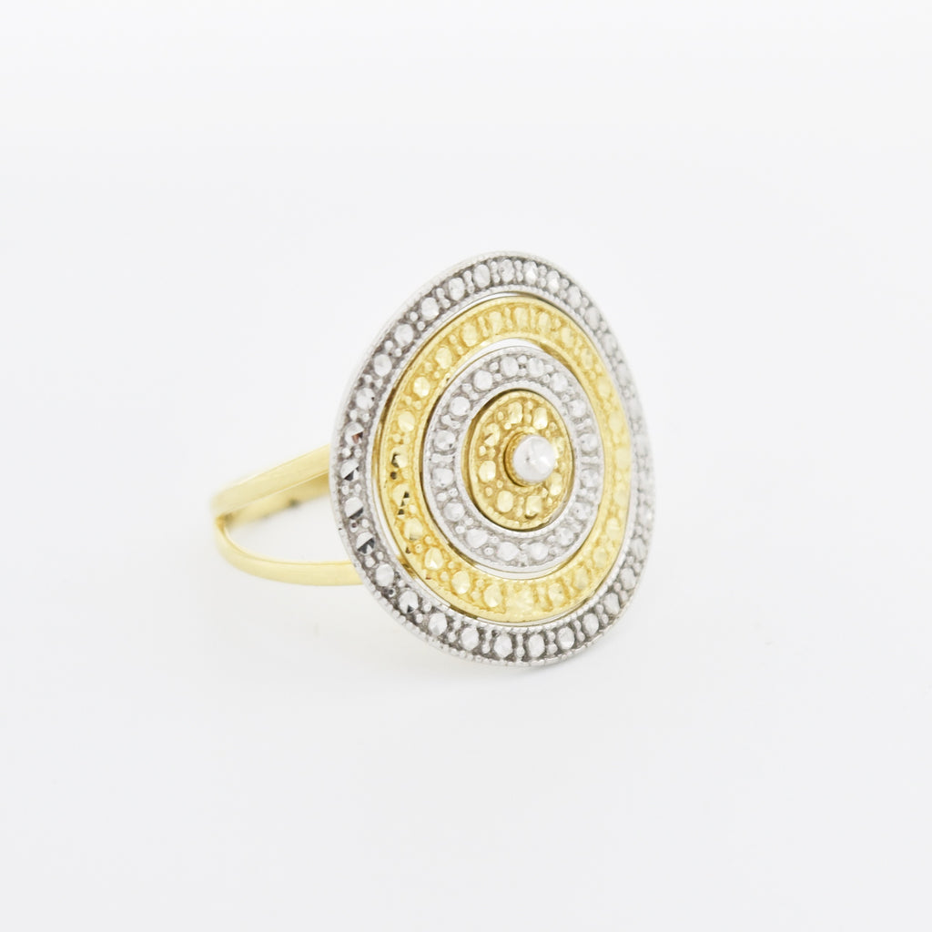 14k Yellow & White Gold Estate Diamond Cut Multi Circle Ring Size 7