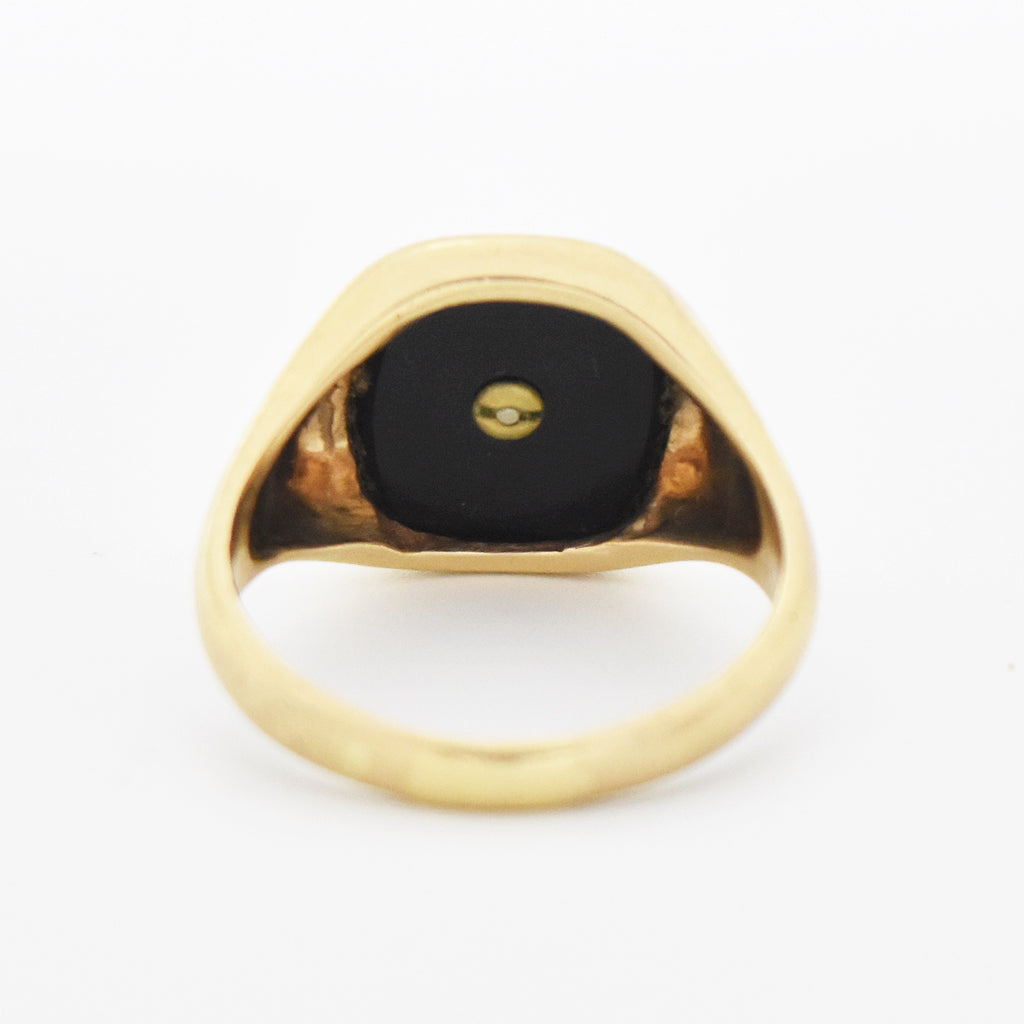 10k Yellow Gold Antique Black Onyx Initial H Ring Size 13