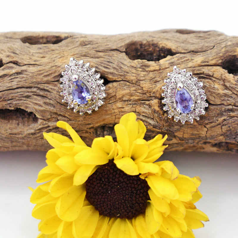 14k White Gold Estate Teardrop Tanzanite & Diamond Post Earrings