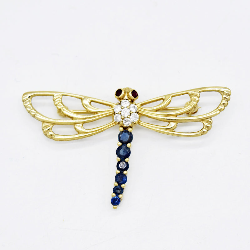 14k Yellow Gold Diamond, Sapphire & Ruby Dragon Fly Pendant/Pin