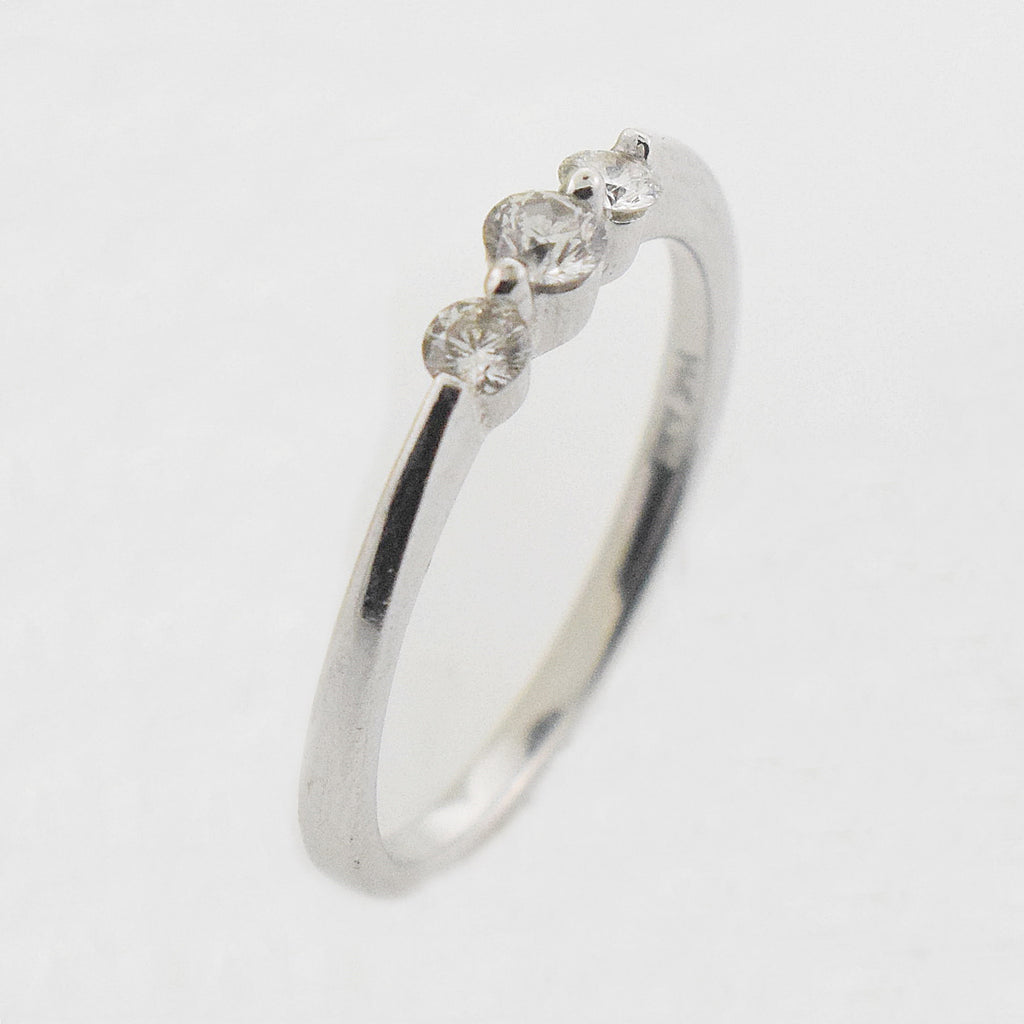 14k WG 3 Stone Diamond 0.23 tcw Band/Ring Size 7