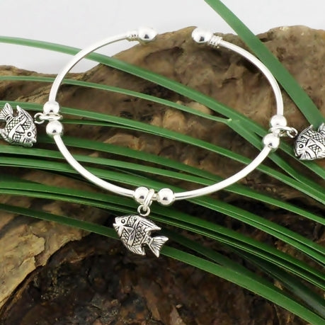 NEW Sterling Silver 925 Tropical Fish Swimming Dangle Cuff Bracelet