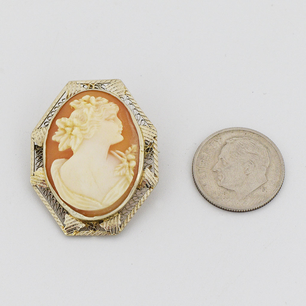 14k White Gold Antique Filigree Cameo Pin/Pendant