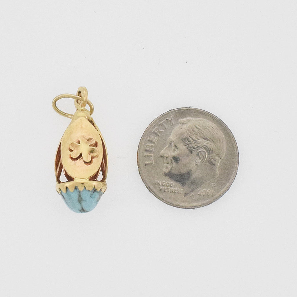 14k Yellow Gold Vintage Curved Drop/Dangle Turquoise Gemstone Pendant