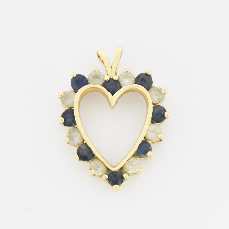 14k Yellow Gold Estate White & Blue Sapphire Open Heart Pendant