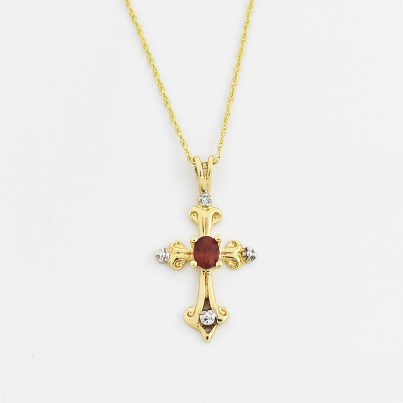 "10k Yellow Gold Estate 18"" Garnet & Diamond Cross Necklace"