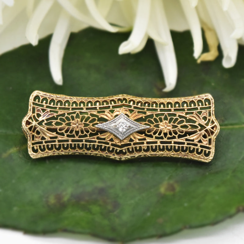 10k Yellow Gold Antique Filigree Diamond Bar Pin
