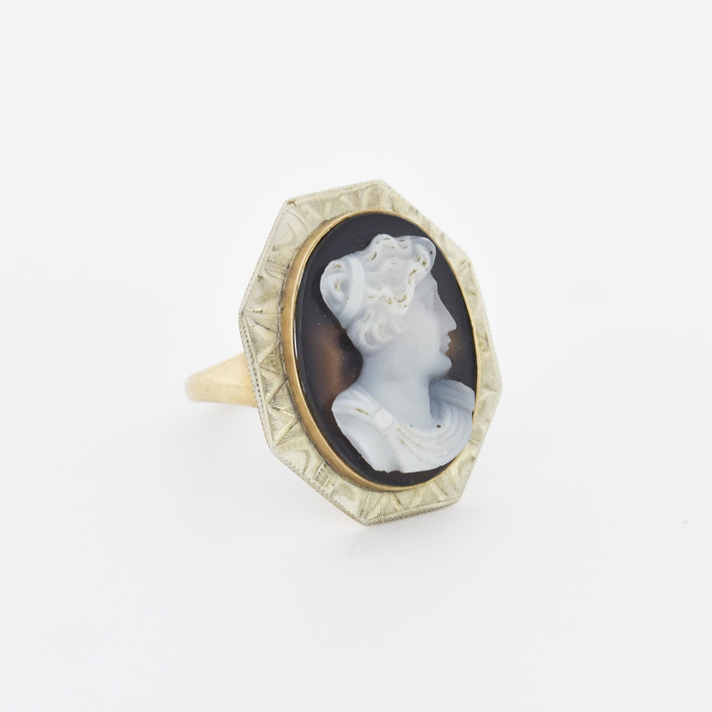 10k White & Yellow Gold Antique Carved Cameo Ring Size 5.75