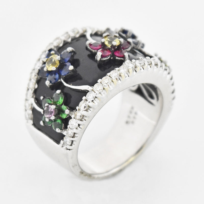 18k WG Black Enamel Multi Color Gemstone & Diamond Ring Size 6.75