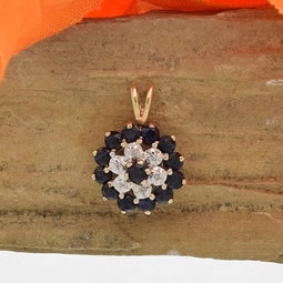 10k Yellow Gold Estate Tier Sapphire & Diamond Pendant