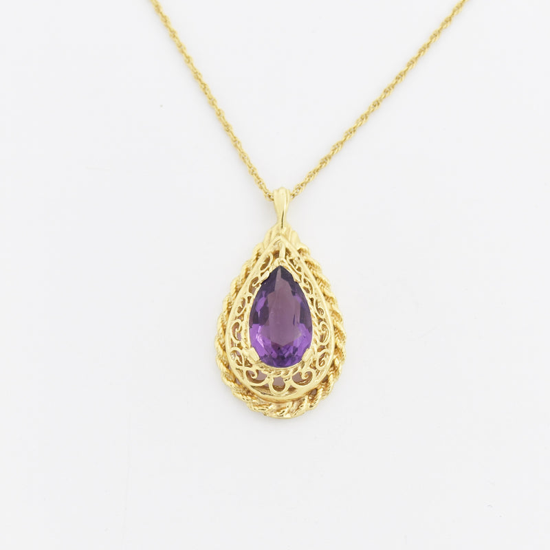 "14k Yellow Gold Estate Fancy Teardrop/Pear Amethyst 15.5"" Necklace"
