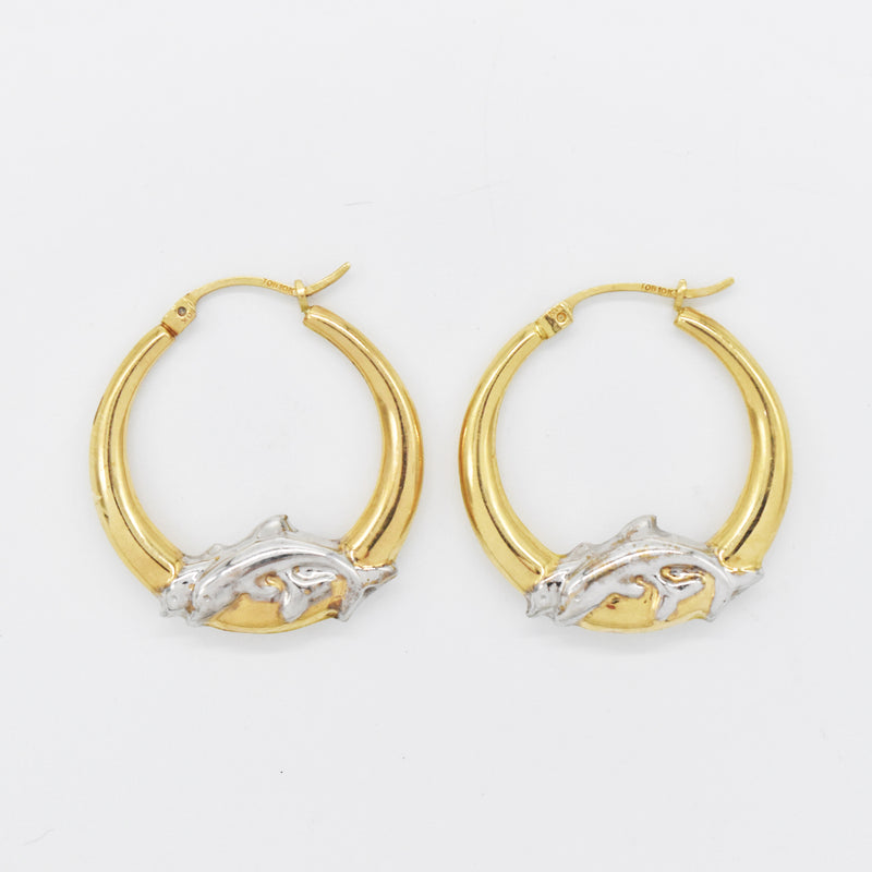 "10k Yellow & White Gold Estate Double Dolphin 1"" Hoop Earrings"