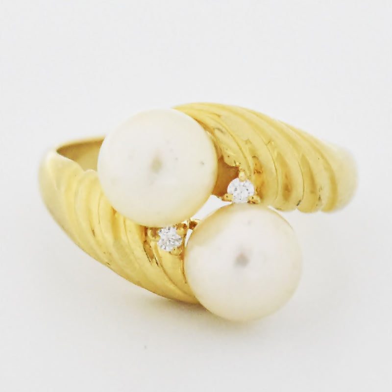14k Yellow Gold Estate Swirl Double Pearl & Diamond Ring Size 6.75