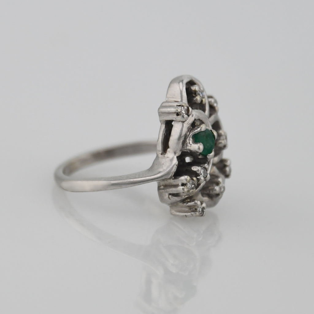 14k White Gold Estate Open Work Emerald & Diamond Ring Size 3