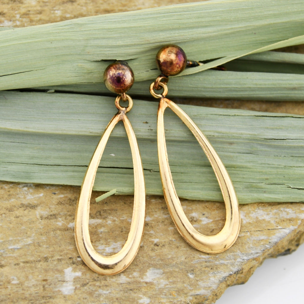 14k Yellow Gold Estate Teardrop/Pear Dangle/Drop Post Earrings