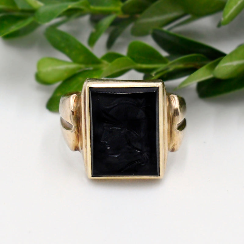10k Yellow Gold Antique Black Jet Intagio Ring Size 10