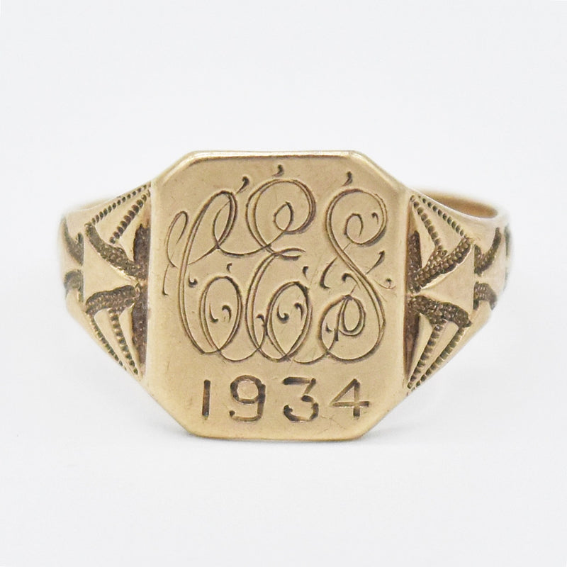10k Yellow Gold Antique Carved Initial Ring Size 7