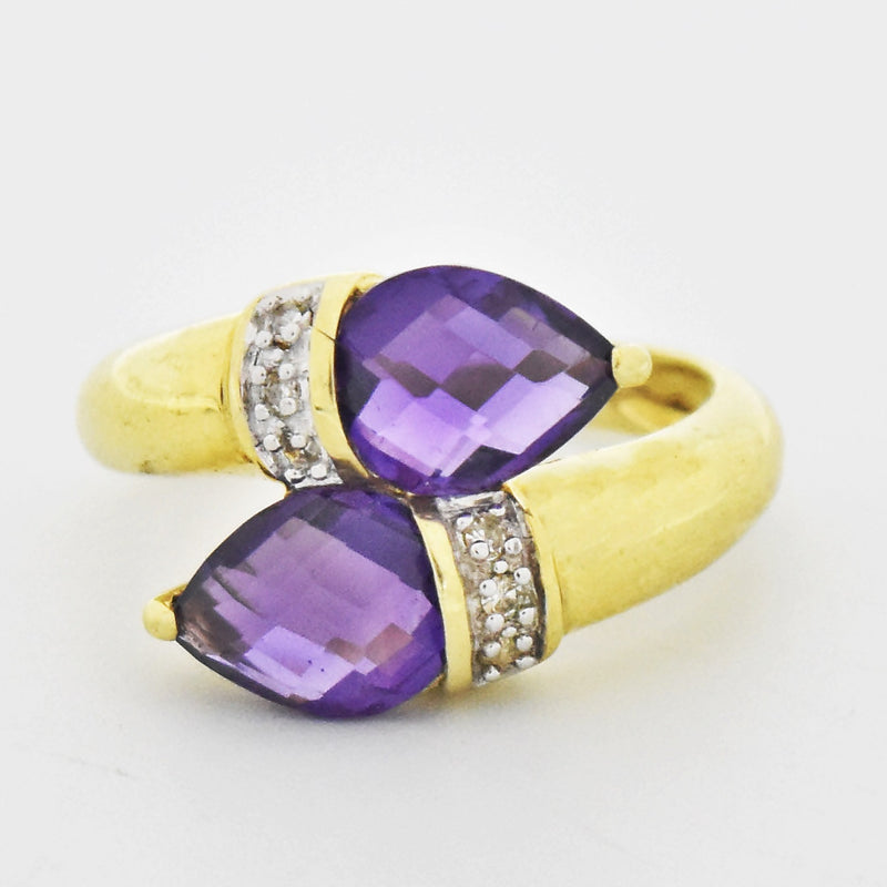14k Yellow Gold Cushion Cut Amethyst & Diamond Swirl Ring Size 7.25