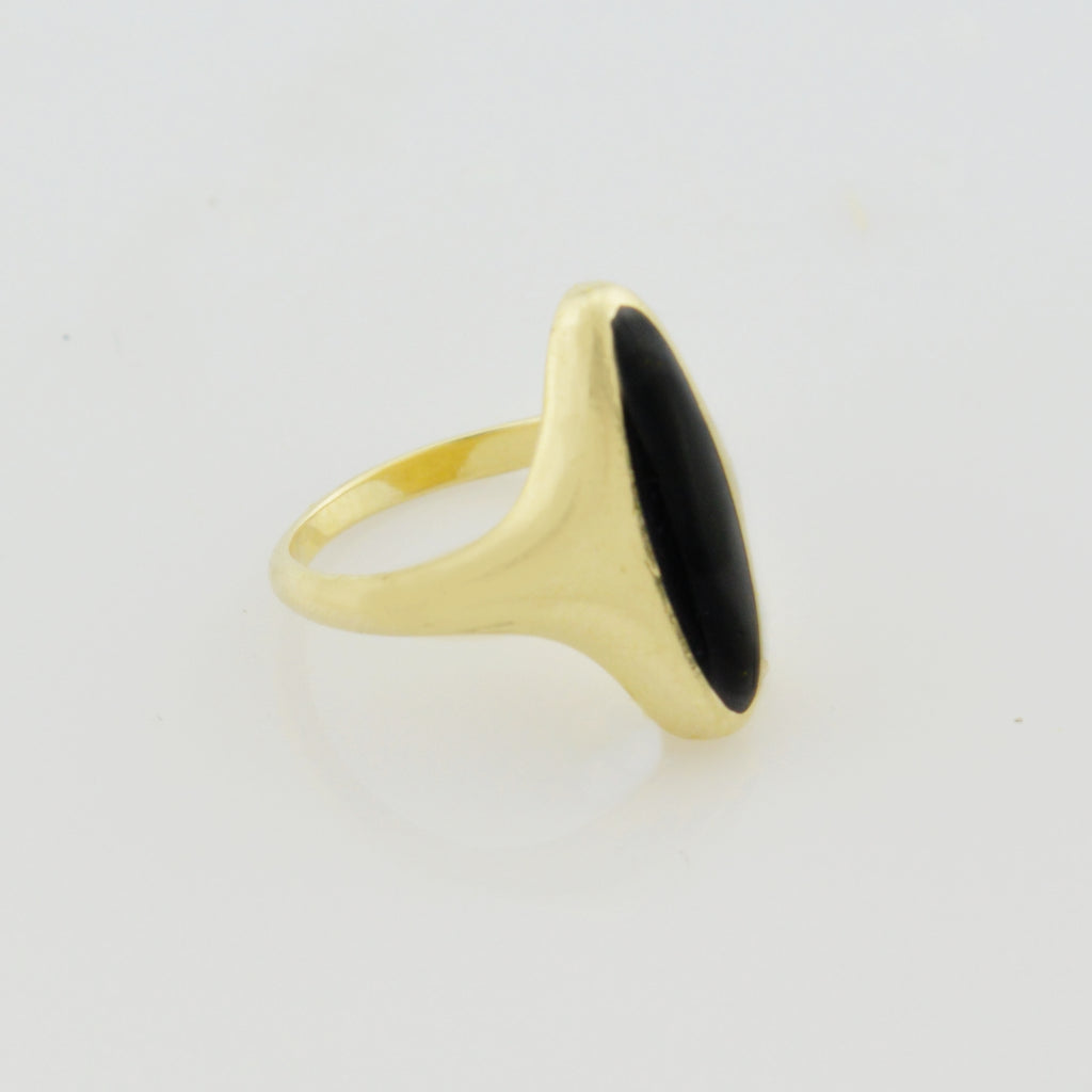 14k Yellow Gold Estate Enamel Statement Ring Size 4.5