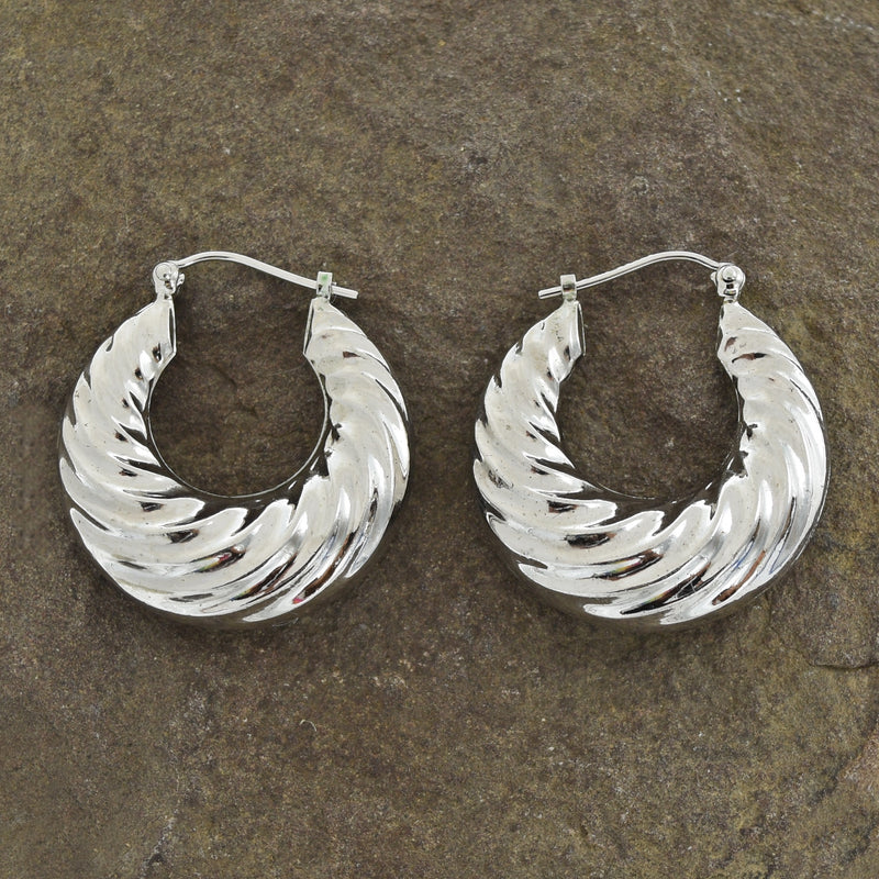 "14k White Gold Estate Swirl 1"" Hoop Earrings"