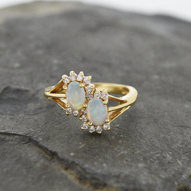 14k Yellow Gold Estate Double Fire Opal & Diamond Ring Size 6.75