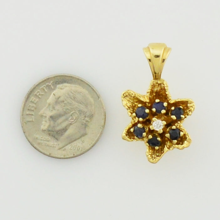 14k Yellow Gold Textured Sapphire & Diamond Flower Pendant